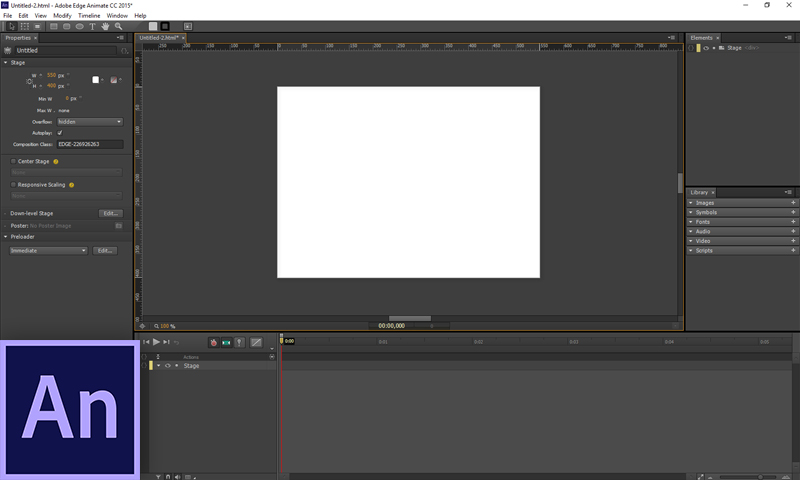 Интерфейс Adobe Edge Animate